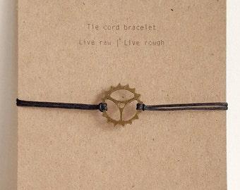Metal Cog/Gear Bracelet on Wax Cotton Cord, Minimalist Jewelry for Men and Women, Steampunk, Industrial