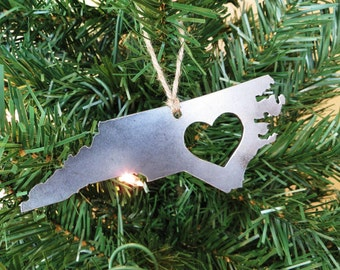 North Carolina Christmas Tree Ornament Love NC Metal State Heart Decoration Holiday Gift Travel Keepsake Wedding BE Creations