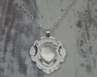 Matt silver pendant - Antique Fob - Silver shield pendant - Silver chain - Mens jewellery- British vintage jewellery - Can be engraved