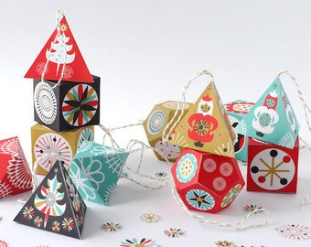 Printable DIY Paper Ornaments Garland Nordic Style Christmas Decor