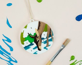 Deer Necklace - Paint By Numbers - Statement Necklace - Deer Jewellery - Laser Cut Necklace - Deer Gift - Artist Gift - Art Necklace