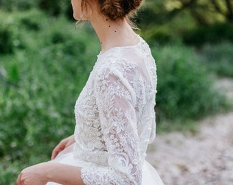 Lace Top, Bridal Top , Wedding Top, Ivory  White Lace Top, Beaded Floral Top, Wedding Separates , Bridal Crop Top, 3/4 Sleeves  Top - ARIEL