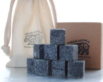 WHISKEY STONES - The Perfect Gift - Whisky Rocks - Scotch Rocks - Soapstone Ice Cubes