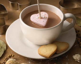 Heart Shaped Hot Chocolate Sticks with Homemade Marshmallows