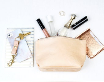 EMILY Small Leather Pouch. Small Leather Clutch. Small Leather Bag. Leather Makeup Bag. Leather Cosmetic Bag.