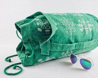 SALE Rucksack, duffle bag, sailor bag, Luggage sack in green with screen printed snowflake pattern.