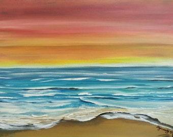 Oceanscape Artwork, Seascape Original Painting, Beach House Wallart, Coastal Decor