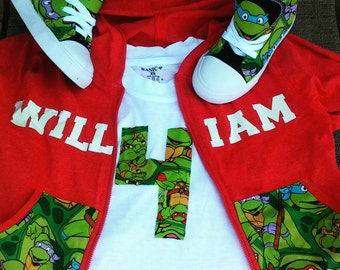 Tmnt zip up sweater,shirt,and shoe set