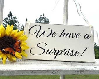 WEDDING SIGNS   We Have A Surprise   Bride and Groom   Mr and Mrs   Wood Wedding Signs   6 x 11.5