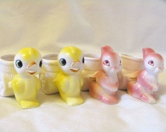 Vintage 60s Egg cups—Chicks and Bunnies, Made in Japan