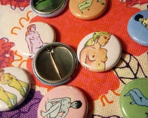 Groovy Nudes 5 Pin Set - Colorful, collectible buttons featuring happy little naked men and women.