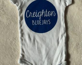Custom baby onesie-Creighton Bluejay sports basketball