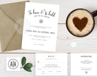Wedding Invitation set, black & White Wedding Invitation, Printable Invitations, Modern invitation set : ANDREA