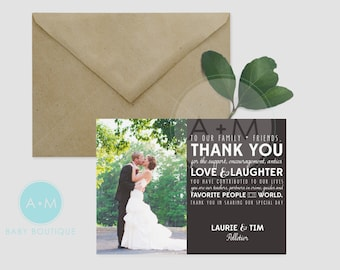 Customized Thank You Template, Photo Thank You, Wedding, Printable, Wedding Thank You, Thank You, PELLETIER