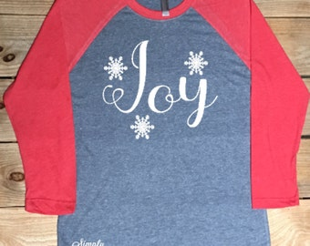 Joy, women's shirt, Christmas shirt, Christmas, winter shirt, gift idea, holiday shirt
