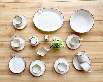 "Vintage J G Meakin ""Lifestyle"" Stoneware Set: Brown Flecks on White, Vintage Stoneware Cups, Stoneware Plates, Stoneware Creamer and Sugar"