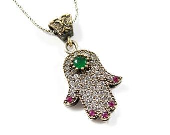 Hamsa Hand Evil Eye Necklace. 925 Sterling Silver Vintage Fatima Hand Necklace