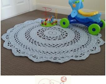 120cm Rug | Handmade Crochet Doily Rug | Crochet Rug | Round Rug |  47inches Rug