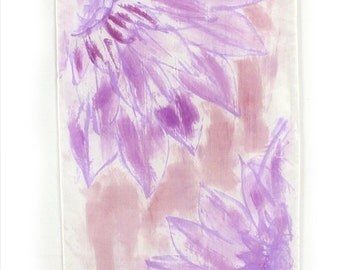 Lilac Hand painted silk shawl. Floral orchids scarf. Wedding Shawl/ Painted silk scarf, Christmas gift for mom. Silk painting by Dimo