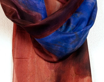 Hand painted silk scarf. Painted scarves,Chocolate scarf with cobalt hyacinth painted. Dark large fashion scarf. Abstract silk painteng