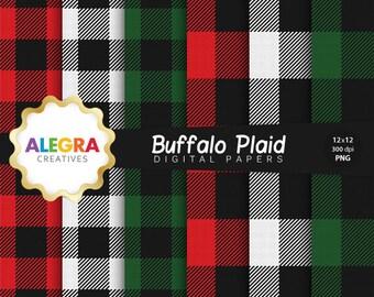 80% OFF SALE - Buffalo Plaid Digital Paper - Lumberjack Scrapbook Paper - Checkered, Check, Tartan, Gingham - Instant Download - P067
