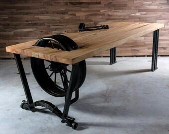 wooden handmade dining table - industrial design