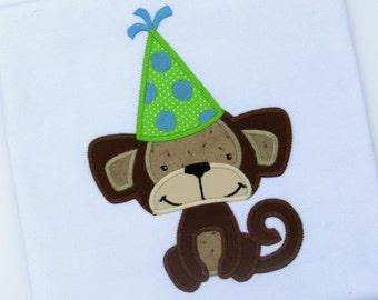 Party Monkey Applique, Birthday Design, Monkey Embroidery, Cute Monkey Applique, Cute Monkey Design, Birthday Monkey Applique, Cat Applique
