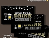 "Printable Free Drink Tickets, Drink tickets, 2"" x 3.5"" tickets, Instant Download files BC101"