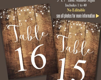 Printable Table Numbers, Wedding Table numbers up to 40 tables, Instant Download, Printable PDF file TN201 no editable