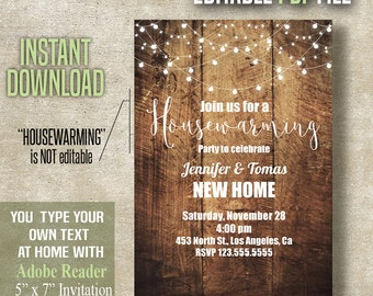 Housewarming Invitation, New Home Invitation, Rustic Wood design, Instant Download PDF file A476