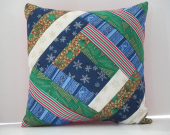 Christmas Pillow Quilted 13 inch square