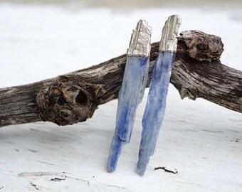 Blue Kyanite and Silver Stud Earrings