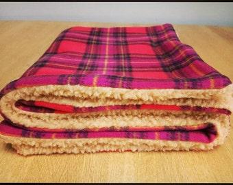 Cosy Fleece Dog Blanket - Plum Tartan Fleece & Oatmeal Sherpa Fleece