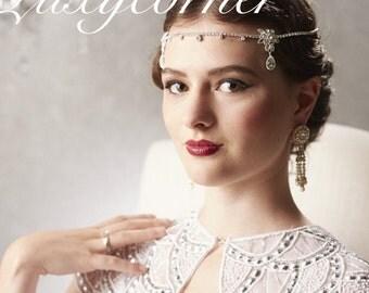 1920s headpiece, Great Gatsby headpiece, wedding tiara headband diamanté crystal diamond bride prom homecoming Gatsby wedding jewelry