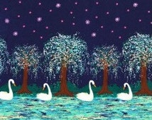 QUILTING COTTON: Michael Miller Swan Lake Border Print Fabric. Sold by the 1/2 yard