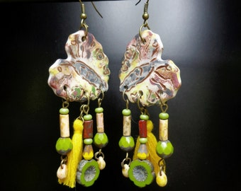Earrings boho chic/rustic, ceramic art, glass Czech, cotton and metal color bronze