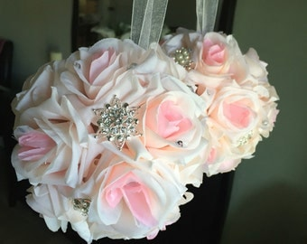 Brooch and crystal flower girl kissing ball pomander