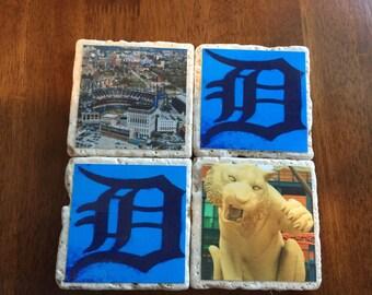 Handmade Detroit coasters