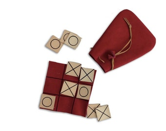 Children's Tic-Tac-Toe Game Naughts & Crosses Suede Leather