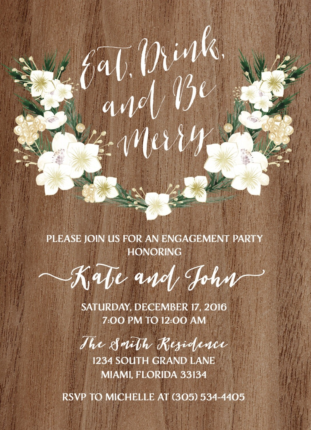 Rustic Engagement Party Invitation Eat Drink and Be Merry – Holiday Engagement Party Invitations