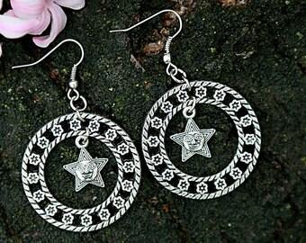 Gypsy earrings Star earrings round earrings geometric earrings  galaxy earrings Star jewelry round jewelry Everyday jewelry Sisters gift