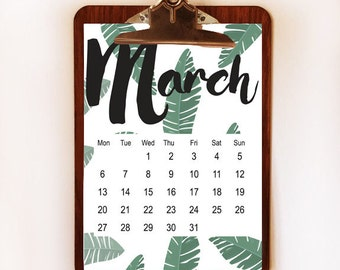 5x7 Mini  2017 Calendar, Wall Calendar, Clipboard Calendar, Palm Leaves Calendar