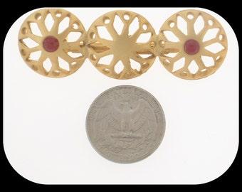 Vintage 3 WHEELS Carnelian-Color Rhinestone Gold Plated BROOCH
