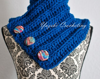 Crochet Blue Cowl