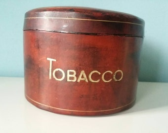 Vintage tobacco jar Italian calf leather with ceramic