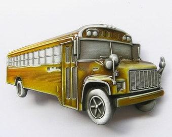 School Bus Yellow 3D Bus Driver Metal Belt Buckle