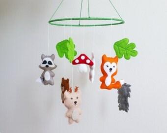 Baby crib mobile, animals mobile, nursery mobile, baby kit mobile, neutral mobile, mobile handing,
