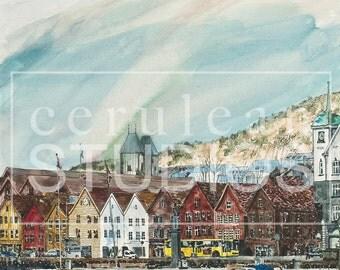 Bergen Norway, Bergen artwork, Norway artwork, fine art print, wall art