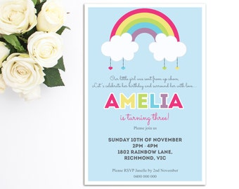 Girls Birthday Invitation - Rainbow - Printable Invitation - Rainbow  Birthday Invitation -  Personalized - Girls Birthday Party