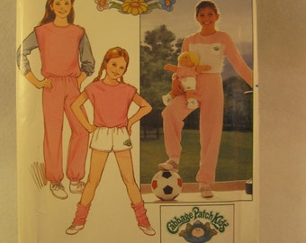 Vintage 1984 Butterick 6705 Cabbage Patch Kids Girls Sewing Pattern Shirt, Vest, Shorts, Pants and Transfers Uncut Factory Folded Size 12-14